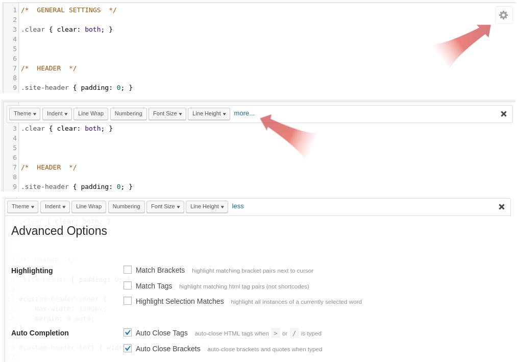 HTML Editor Syntax Highlighter Basic Settings