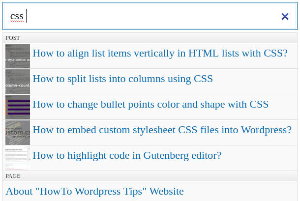 Wordpress Ajax Search Plugins front-end preview: Search in place
