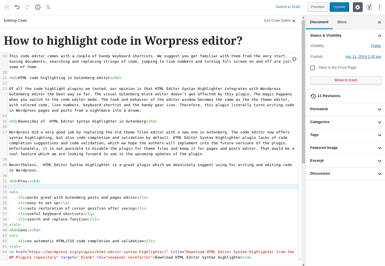 How to highlight code in Wordpress editor using a code highlighter