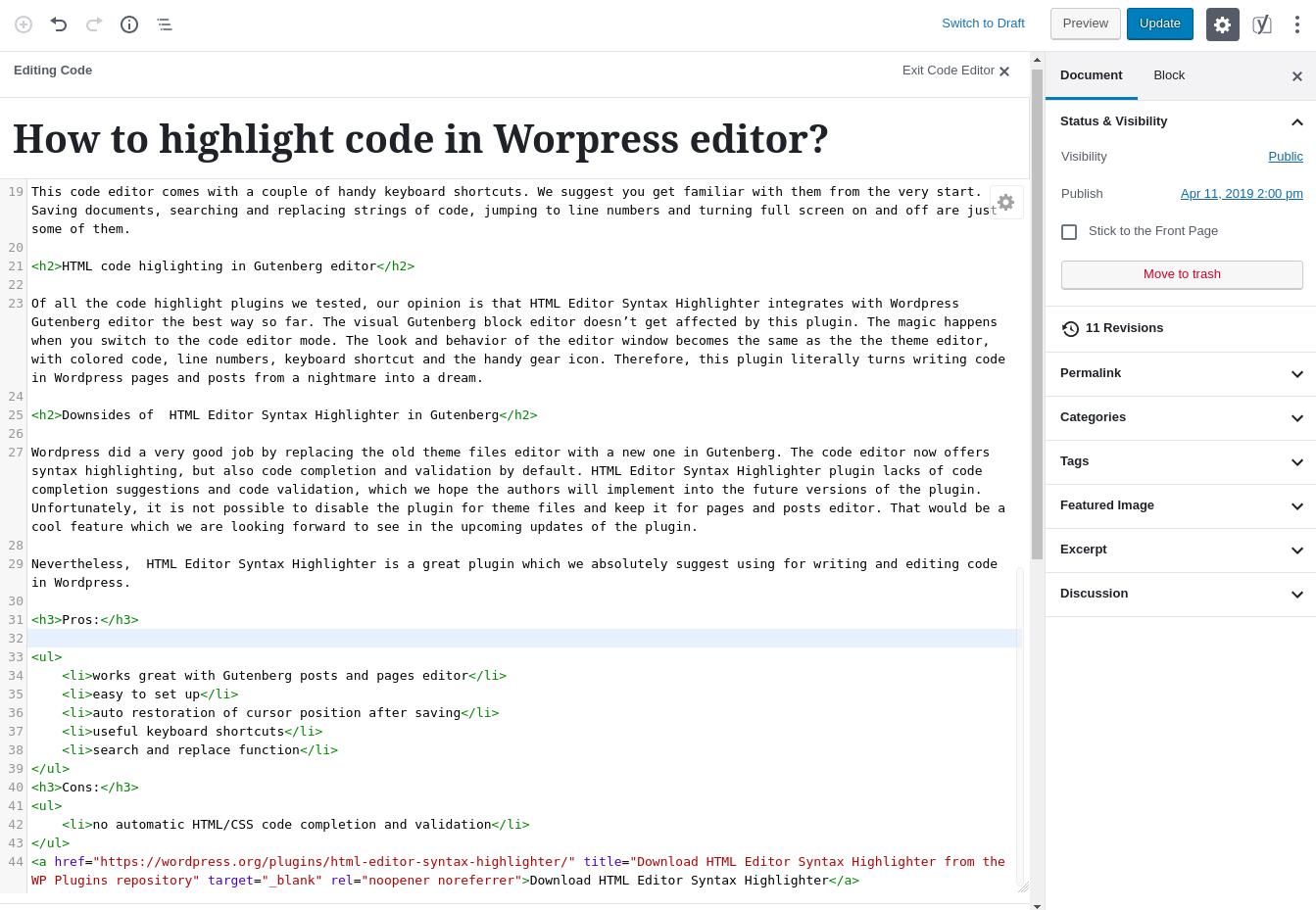 HTML Editor Syntax Highlighter Screenshoot