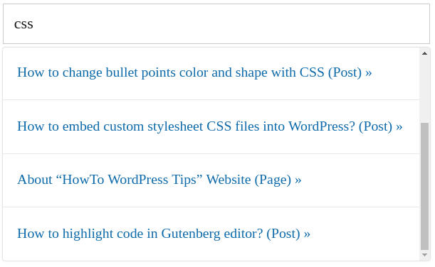 Wordpress Ajax Search Plugins front-end preview: SearchWP Live
