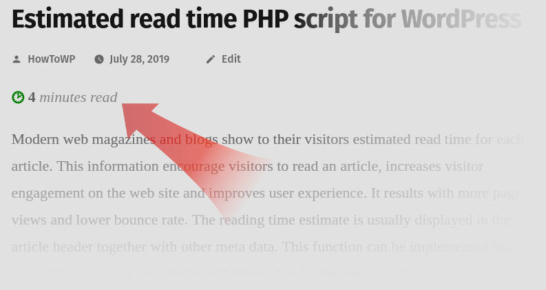Estimated read time PHP script for WordPress final result