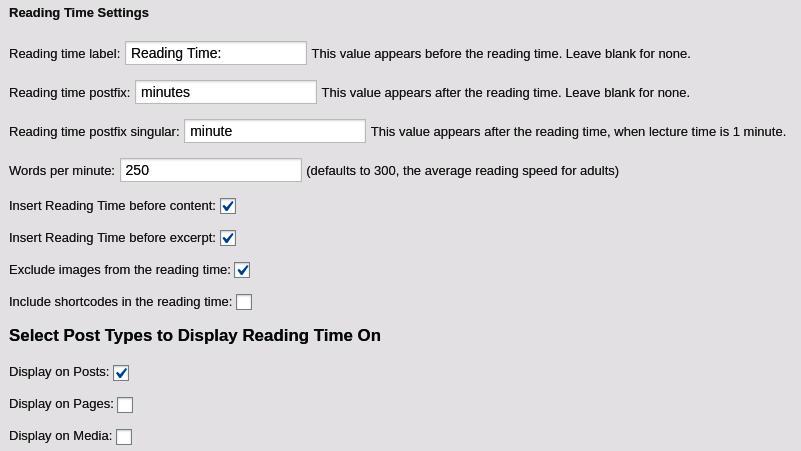 Reading Time WP Settings