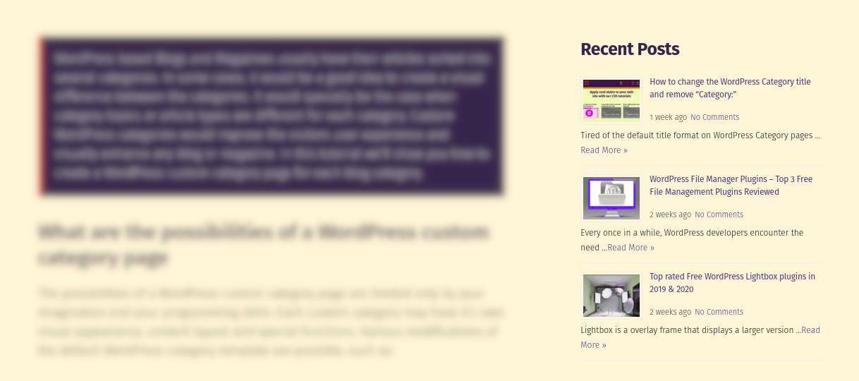 Free WordPress recent posts widget extended appearance