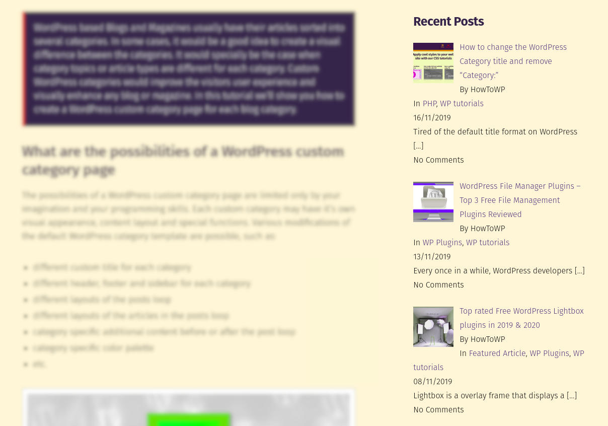 Free WordPress recent posts widget with thumbnails