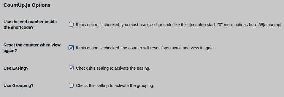 WP CountUP JS Animated number counter settings panel