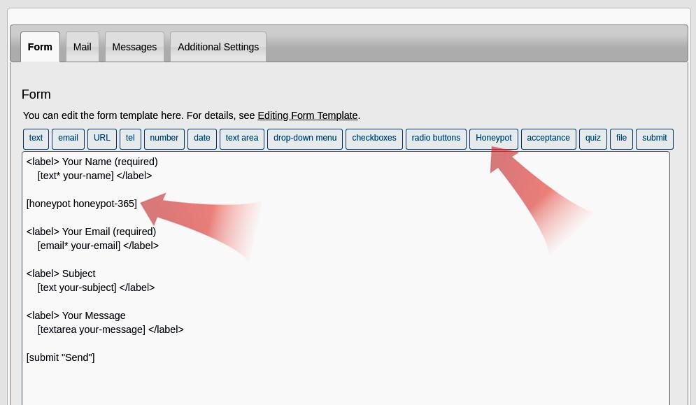Contact form 7 spam protection using Honeypot plugin