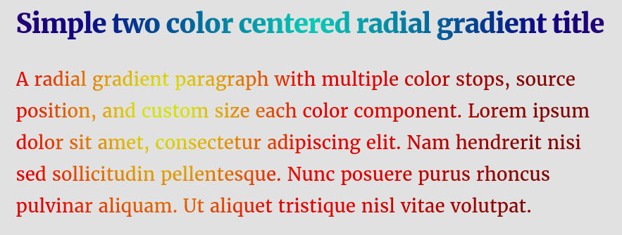 Radial text gradient CSS code