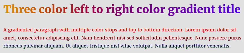 Multicolor text gradient CSS code