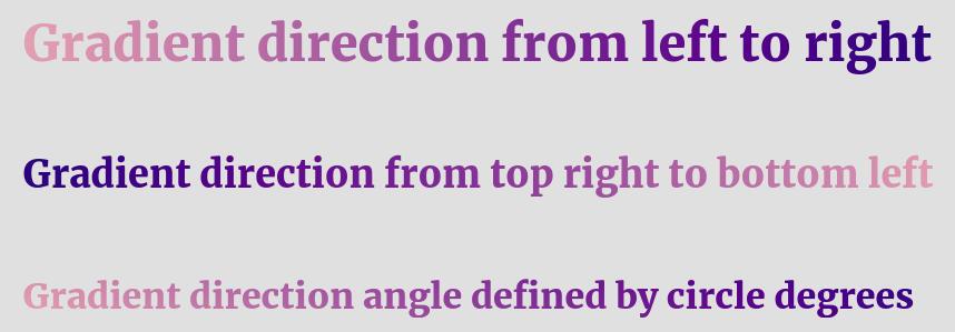 Custom direction text gradient CSS code