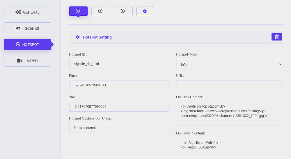 WP VR virtual tour WordPress plugin user interface