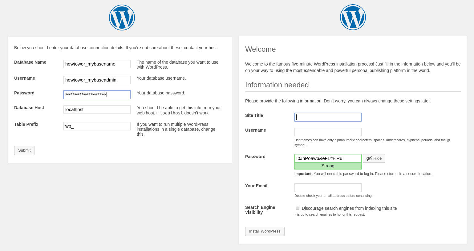 WordPress installation user interface