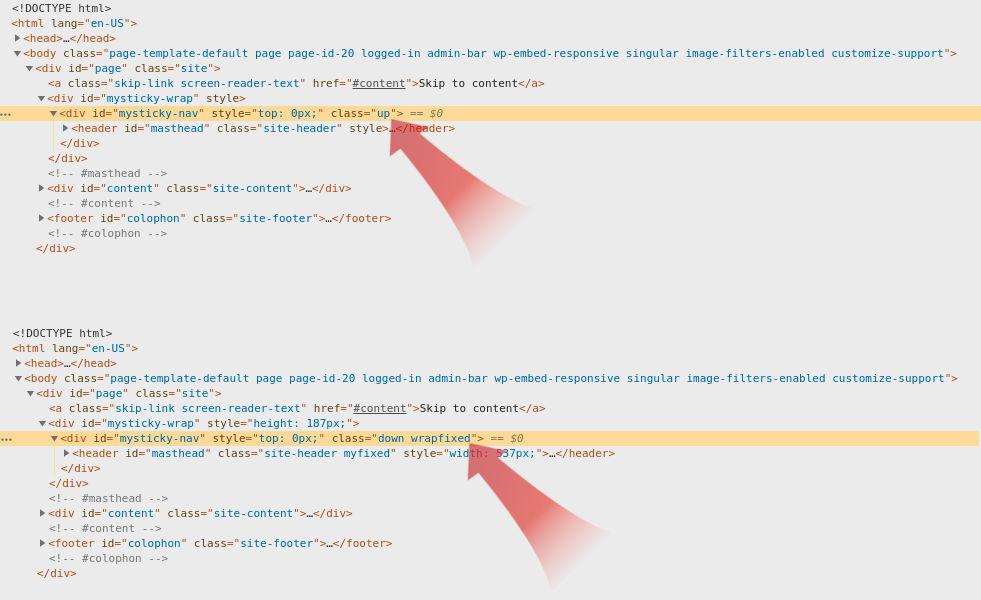 myStickymenu sticky header WordPress plugin CSS classes