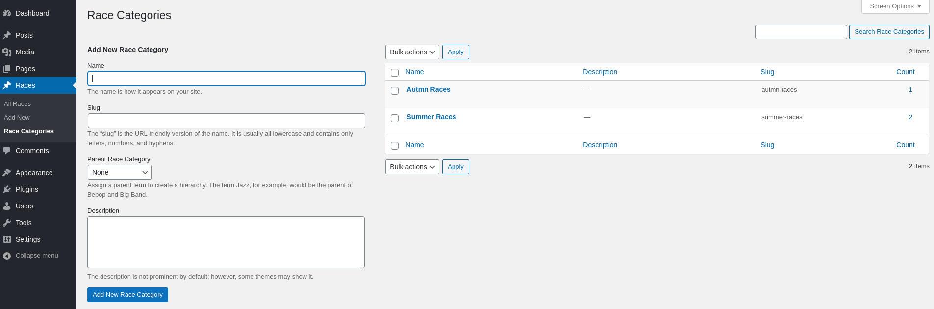 WordPress Custom Post Type Taxonomies Enabled frontend.