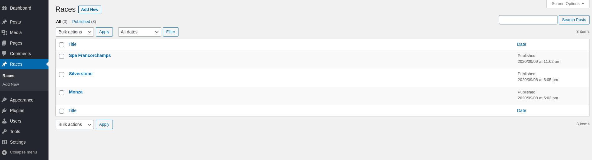 WordPress Custom Post Type in WP Dashboard