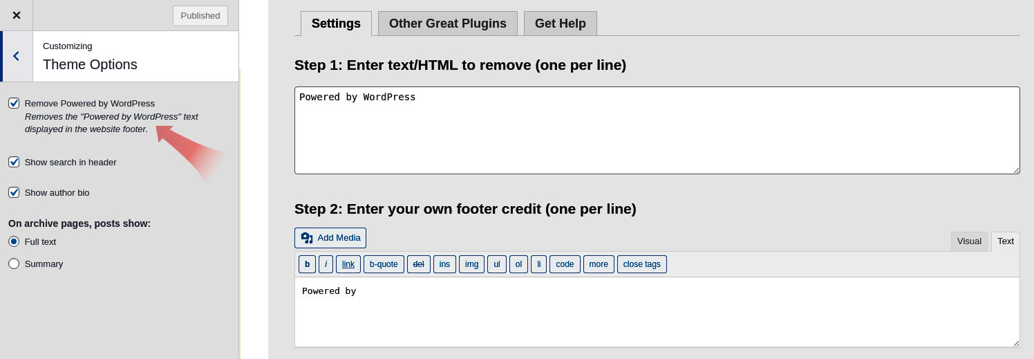 Remove Powered by WordPress footer credit plugins