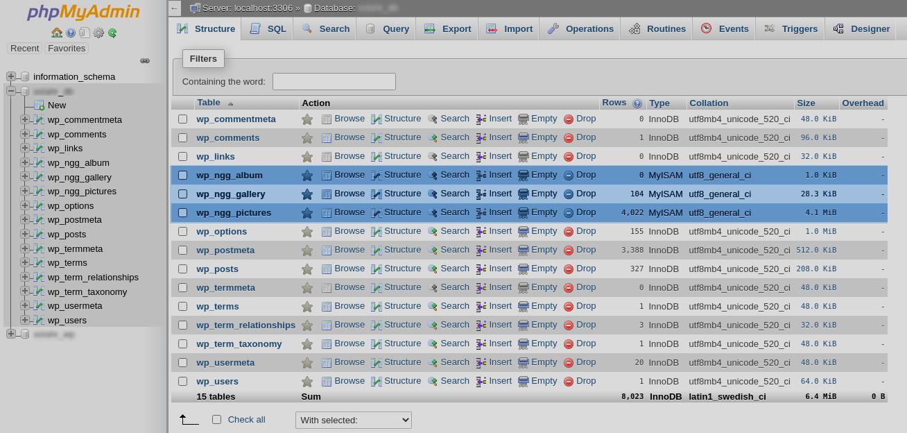 Export NextGEN Gallery using phpMyAdmin