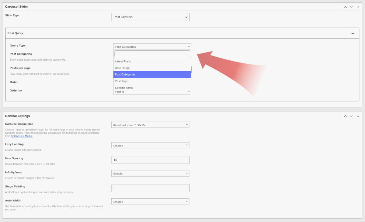 WordPress post carousel plugin screenshoot