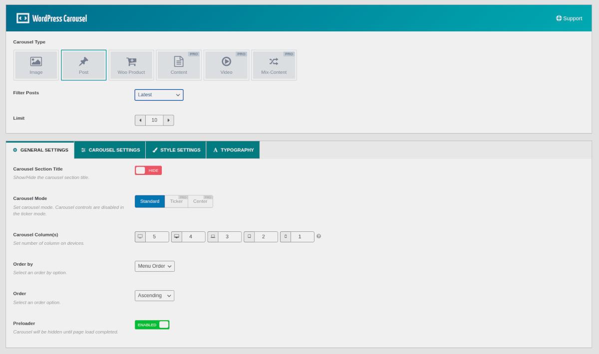 WordPress Carousel plugin user interface